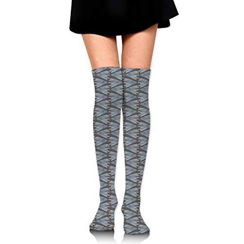 Slate Blue Watercolor Bird Feather Women's Over Knee Thigh Socks Girl High Stockings 65 Cm/25.6In - Knit Black Slate