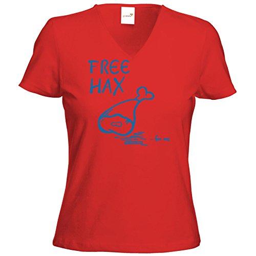 getshirts - Die Grillshow - The Shop - T-Shirt Damen V-Neck - Free Hax blau Rot