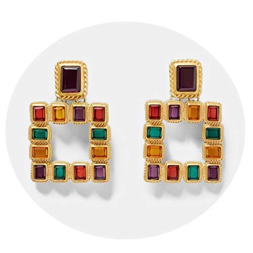 Presock Damen Ohrringe Ohrstecker, Vintage ZA Multicolored Square Drop Earrings For Women Metal Dangle Shiny Christmas Gift Jewelry Bohemian Hot Multicolored