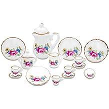 15 pezzi 1/12 Porcellana Casa delle Bambole in Miniatura Sala da Tè Tazza Set (rosa)