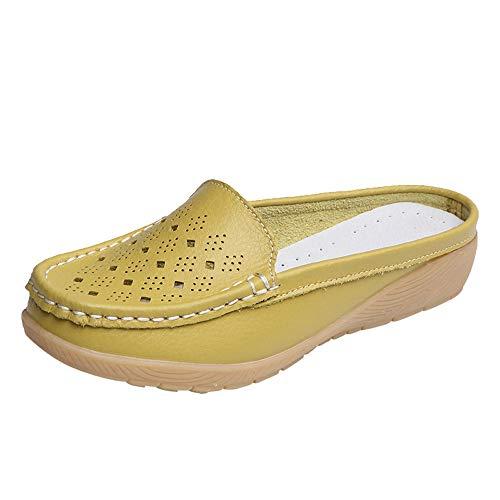 Mokassins Klassisch Damenschuhe Casual Leder Slipper Flatschuhe Low-top Schuhe Erbsenschuhe Flache Loafers Segelschuhe Freizeit Schuhe Einzelne Schuhe Bequem Bootsschuhe für Mädchen (Woven Penny Loafer)