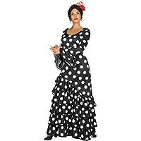 Atosa 16957–Flamenco de mujer, para mujer Disfraz, tamaño XL, 42/44, Negro