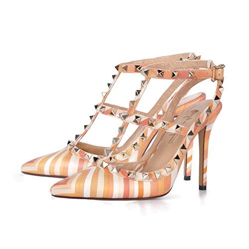Damen Pumps Sandalen Stiletto High Heels Spitze Toe Slingback T-Spange Römersandalen mit Nieten Knöchelriemchen Party Gelb