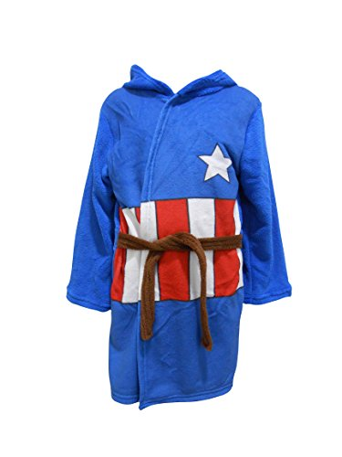 Captain America Kinder Mit Kapuze Fleece Bademantel Bademantel - Blau, 2-3 ()