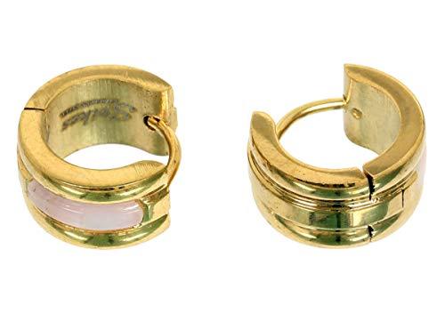 1 Paar Ohrringe Shell Inlay aus Chirurgenstahl - Creolen in Gold für Normale Ohrlöcher -
