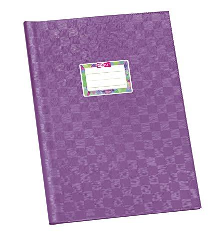 Veloflex 1342170 Schulhefthülle, Hefthülle, Heftschoner, DIN A4, gedeckte PP-Folie, Bastnarbung, 25 St, lila -