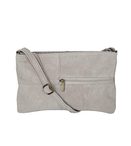 zarolo Damen Tasche, kleine Umhängetasche aus echtem Wildleder, Cross Body, Schultertasche Wildleder, Leder Clutch, itaienische Handarbeit
