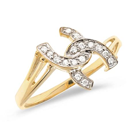 10K Yellow Gold Diamond Horseshoe