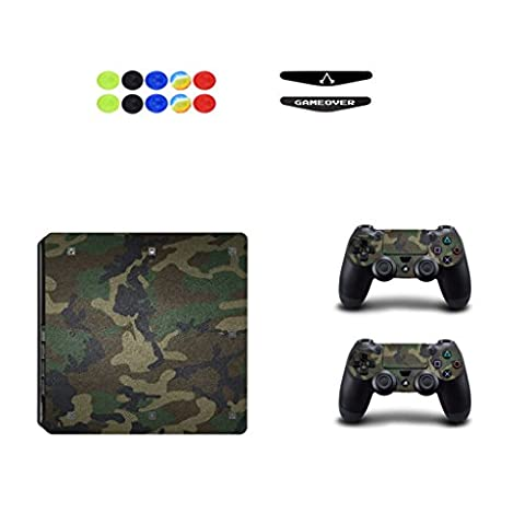 Skin for PS4 Slim, Chickwin Vinyle Protective Autocollant Decal Sticker pour Playstation 4 Slim console + 2 Dualshock Manette Set + 10pc Thumb Grips + 2pc Light Bar au hasard (Vert Camouflage)