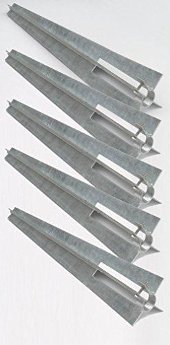 EXCOLO 5 STK. Bodenhülse Einschlaghülse Ø 34 mm Pfostenträger 50 cm mit Klemmschelle für Zaunanlage wie Maschendrahtzaun, Schweißgitterzaun oder Metallzaun als Zaunpfosten