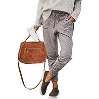 ECOWISH Damen Hosen Elastischer Bund Jogginghose Tunnelzug Sporthose Casual Sweathose Freizeithose mit Taschen