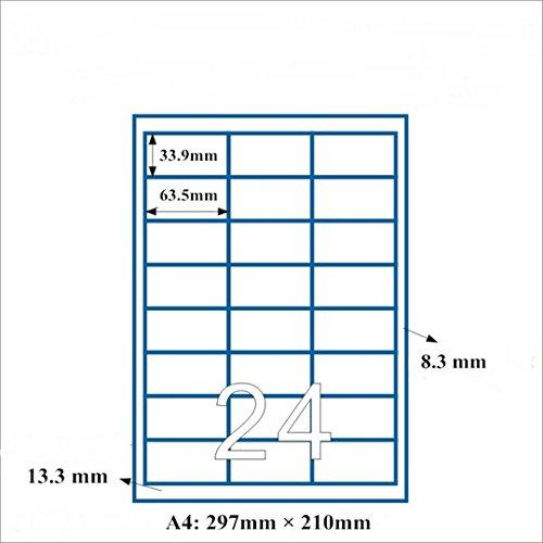 RoseFlower® Feuille A4 de 100 planches d'étiquettes, 24 étiquettes blanches adhésives (2400 étiquettes de 63.5 x 33.9 mm Convient pour Amazon FBA expédition)