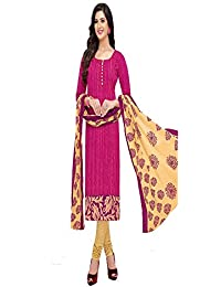 Baalar Elegance Women's Pink Color Pure Printed Cotton Unstitched Dress Material With Cotton Dupatta
