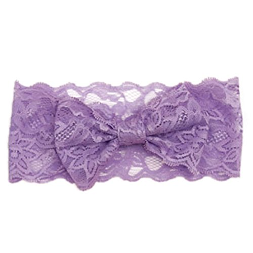Tonsee 2015 neue Mode Mädchen Lace Big Bow Hair Band Baby Kopf wickeln Partei Band Zubehör Haarband Stirnband (lila)