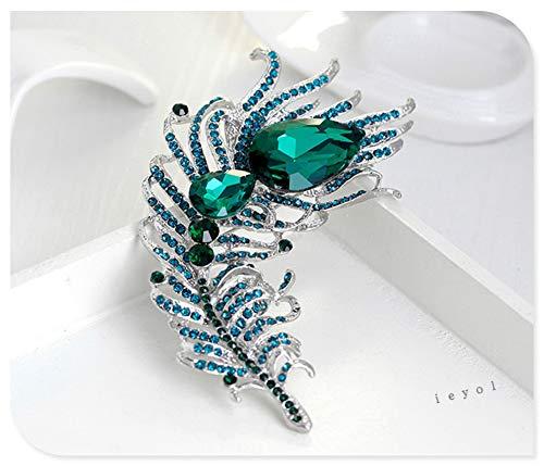 ieyol Broschen f¨¹r Frauen Bridal Glittery Crystal Pfauenfeder Anh?nger Pin blau