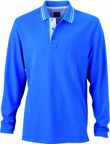 James & Nicholson Herren Poloshirt Poloshirt Men's Long-Sleeve blau (cobalt/off-white) X-Large