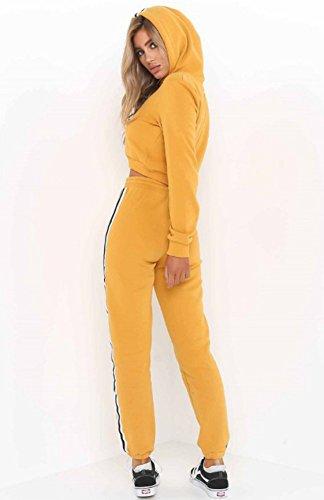 Femmes CasualSportswear Set Hoodies Sweat-shirt à Capuche Jogging Tracksuit Sporting Suit Sportsuit 2 Pcs Crop Top Long Pantalons Jaune