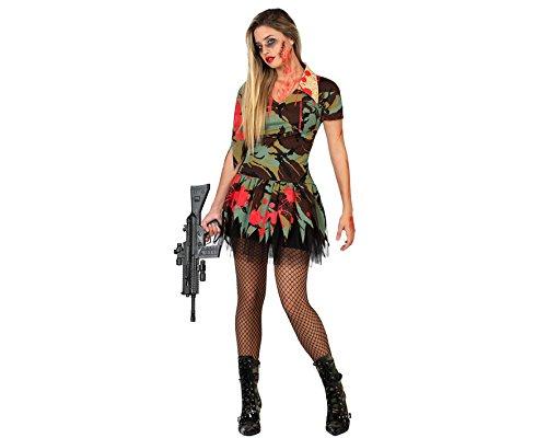 Atosa 22702 - Zombie Soldatin Kostüm, Größe XS-S, grün
