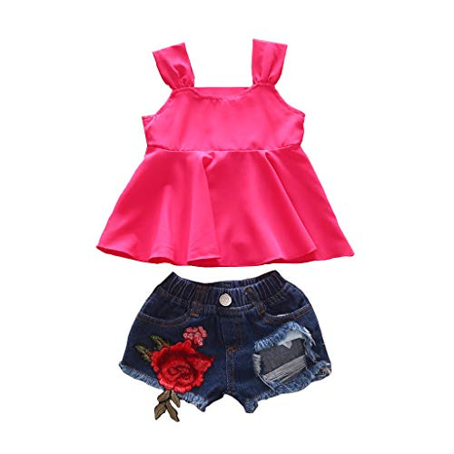 Kleinkind Kinder Baby Mädchen Sommer Outfit Kleidung Print Weste T-Shirt + Shorts Outfit Set Rose Stickerei Denim Sommer Kleidungs Outfits Pwtchenty Bekleidungssets Bali Print Shorts