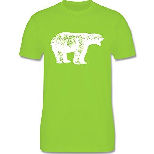 Tiermotive - Weißer Bär - L190 - Premium Männer Herren T-Shirt mit Rundhalsausschnitt Hellgrün