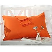 blera Funda para almohada de algodón egipcio, 300hilos Genuine estándar, sólida y funda de almohada, 2piezas, naranja