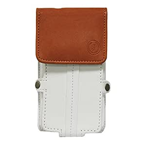 Jo Jo A6 Nillofer Series Leather Pouch Holster Case For Nokia Asha 503 Dual SIM White Orange