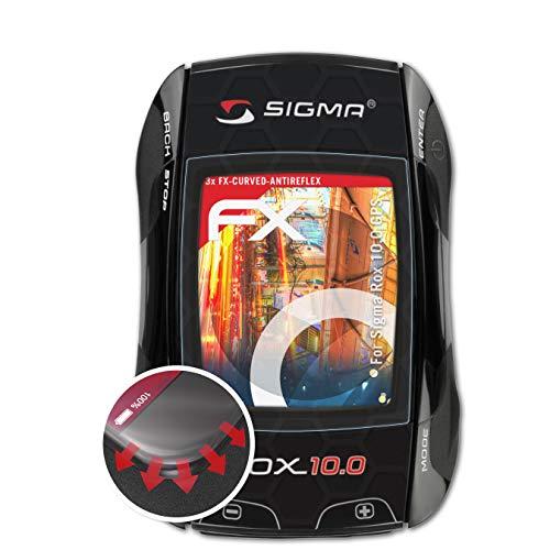 atFoliX Schutzfolie passend für Sigma Rox 10.0 GPS Folie, entspiegelnde und Flexible FX Displayschutzfolie (3X)