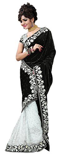 Clickedia Women's Stylish Black and White Half and Half Embroidered Pure Velvet and brasso saree with blouse piece  available at amazon for Rs.299
