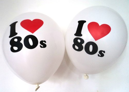 80s Party Decorations - 10 x 'I love 80s' Balloons