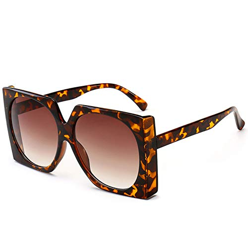 HQMGLASSES Square Thick Frame Sunglasses Bold Geometry Oversized Mod Fashion Unisex Shadow Sun Gläser for Leisure/Shopping,LeopardGrainFrame