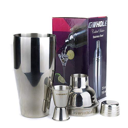 GWHOLE Kit Shaker à Cocktail en Inox 750ml avec Filtre...