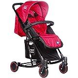 Mee Mee Premium Baby Pram With Rocker Function, Rotating Wheels And Adjustable Seat (Dark Red)