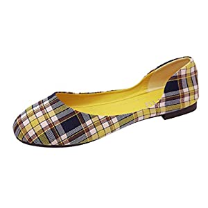 Flat Shoes Women~Hotsell〔☀ㄥ☀〕Ladies Fashion Flat Ballerina Dolly Pumps Shoes Brushed Plaid Comfy Casual Boho Anti-Slip Work Safety Pregnant Nurse Shoes Yellow