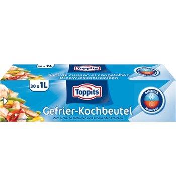Toppits® Gefrier- und Kochbeutel (30 Stück / 1 Liter - 16 x 25 cm) Spezialfolie inkl. Verschluss-Klipse