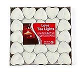 EXQUILEG 50x Kreative Romantische Herz Kerzen, Kerzen Hochzeit, Kerzen Teelicht,Liebe Kerze,Herzkerze Liebe Set Deko für Geburtstag,Vorschlag,Hochzeit,Party (Weiß)