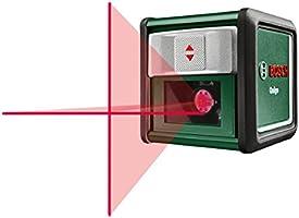 Bosch DIY Kreuzlinien-Laser Quigo, 2 x AAA Batterien, Arbeitsklemme MM2, Schnell-Montage Platte, Metalldose (Reichweite 10 m, Neigungsfunktion, Selbstnivellierend)