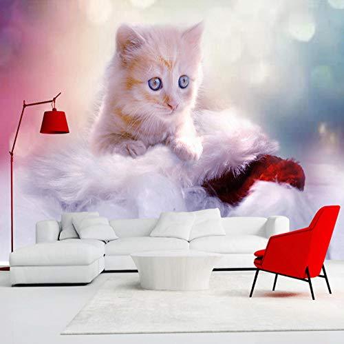 Fototapete Vlies Neugieriges Kätzchen 3D Vliestapete Aufkleber Für Schlafzimmer Wohnzimmer Küchen Wandkunst Dekoration Poster 200x140cm -