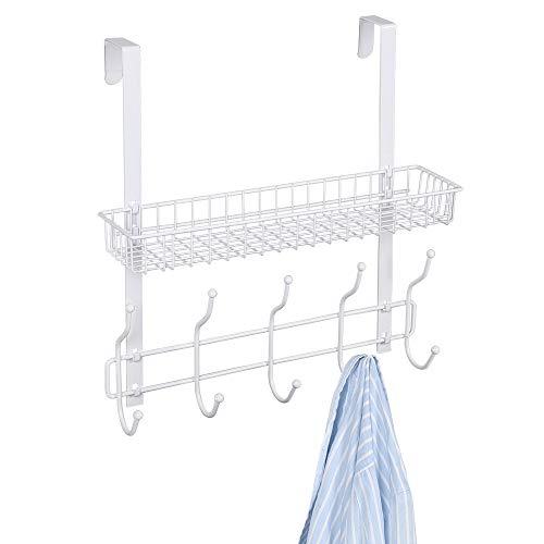 NEX Upgrade über der Tür Haken Regal Organizer 5Haken mit Korb Aufbewahrung Rack für Mäntel und Handtücher, Chrom weiß (Stahl-regale Mit Türen)