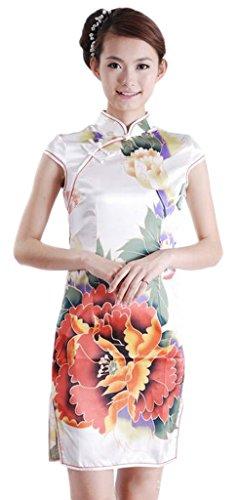 Bigood Robe Chinoise Femme Cheongsam Manche Court Fleur Imprimé Chic Blanc Blanc