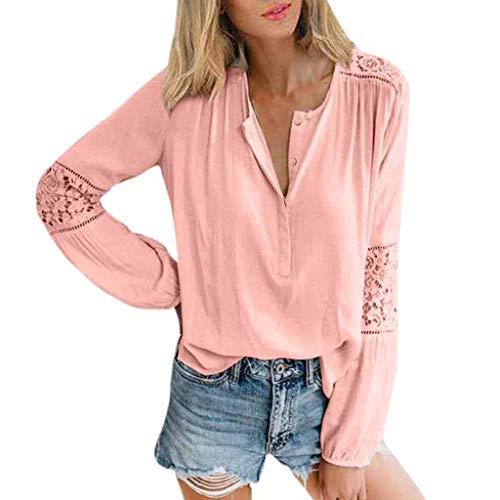 ❤️ AG&T ❤️ Damen Casual Lace Patchwork Shirts V-Ausschnitt Langarm Top lose T-Shirt Bluse (T-shirt Henley Weiße Erwachsene)