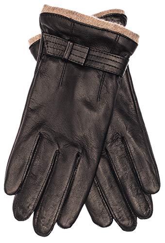 EEM Damen Leder Handschuhe KYLIE aus Lammnappaleder mit Zierriegel, Strickstulpe und Fleecefutter, modisch, elegant, warm, schwarz XL