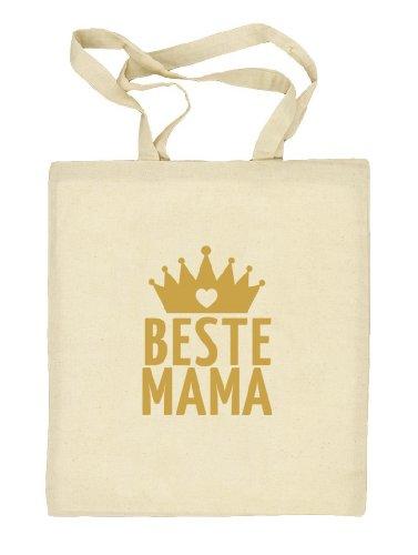 Shirtstreet24, Muttertag - Beste Mama Krone, Mutter Natur Stoffbeutel Jute Tasche (ONE SIZE) Natur