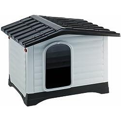 Feplast 87255099 Caseta de Exterior para Perros Dogvilla 90, Panel Lateral Que Se Puede Abrir, Robusto Plástico Resistente A Los Golpes y A Los Rayos UV, Rejilla de Ventilación, 88 x 72 x 65 Cm