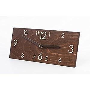 Hölzerne Wanduhr – Handgefertigte Dunkelbraune Wanduhr – Rechteckige Wanduhr – Moderne Wanduhr – Skandinavischer Stiel Uhr – Wanddekor