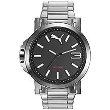 Puma Ultrasize 45 - Reloj análogico de cuarzo con correa de acero inoxidable para mujer, color plata/negro