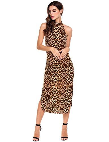 e5e879928f147f ANGVNS Damen Maxikleid Seitenschlitz Bodycon Kleider Halter Ärmellos  Leopard Druck Maxi Abendkleid Partykleid Braun