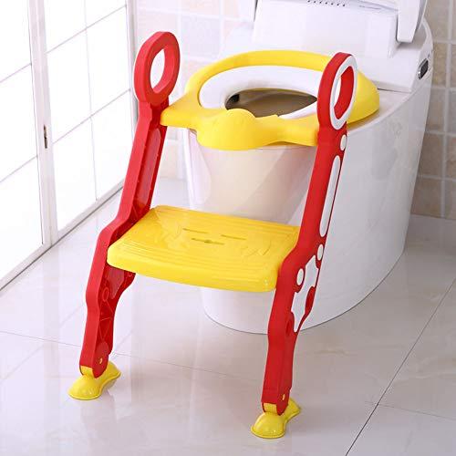 LWYJ Töpfchen-Toiletten-Trainingssitz-Stuhl-Baby-Kleinkind-Kinder-Toiletten-Trainer Töpfchen-Stuhl-Trainer mit Trittleiter,Red (Töpfchen Stuhl Auf Toilette)