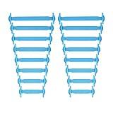 Newkeen sin corbata Cordones de zapatos para niños y adultos cordones de zapatos de atletismo atlética de silicona elástico plano de los zapatos del tablero Sneaker boots (Blue)