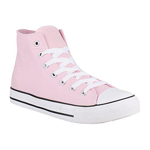 Elara Unisex Sneaker | Bequeme Sportschuhe für Damen und Herren | Low Top Turnschuh Textil Schuhe 014-A XG201 Pink-36