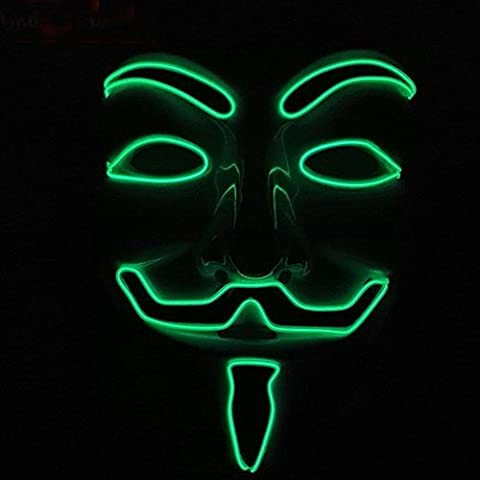 Calistous EL LED Masque V pour Vendetta Guy Fawkes Anonymous fantaisie Cosplay